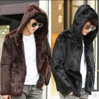 Mit kapuze winter verdicken warme herren lederjacke faux pelz ledermantel männer dünnen kaninchenhaar jacken mode braun koreanische