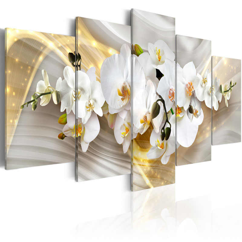 Top Wall Deocr Canvas Painting 5 Pcs flower Wall Art Canvas  Posters And Prints  Pictures For living Room framed/PJMT-26
