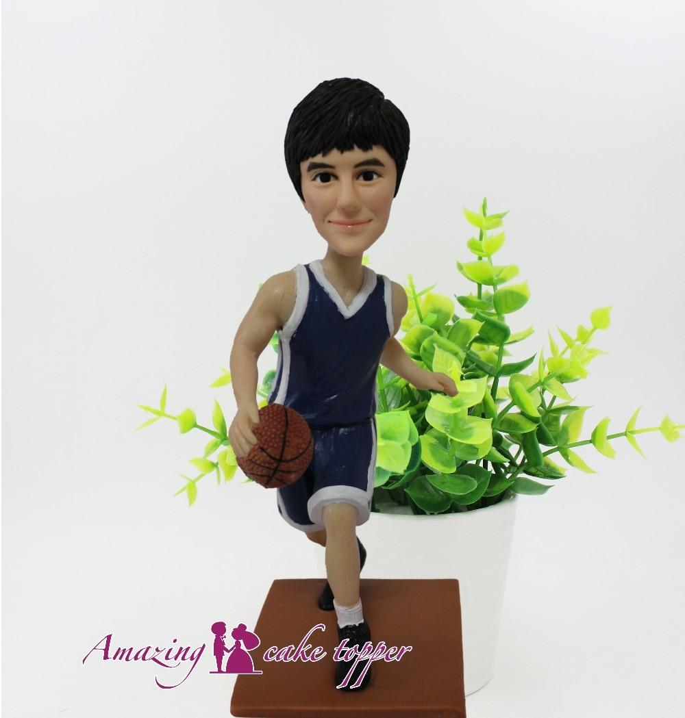 2019 incroyable gâteau TOPPER basket-ball garçon préféré sport jouets personnalisé polymère argile Figure de photos
