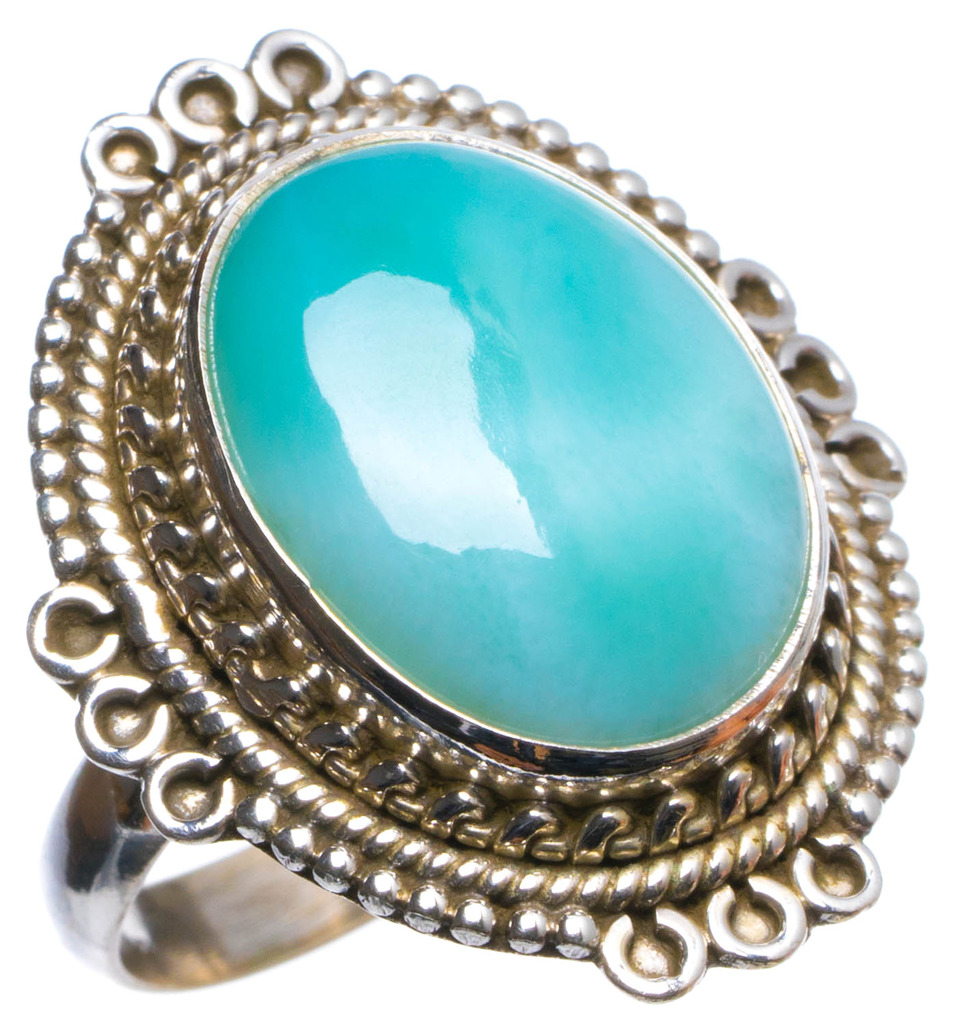 Natural Caribbean Larimar Handmade Unique 925 Sterling Silver Ring, US size 6.5 X2422
