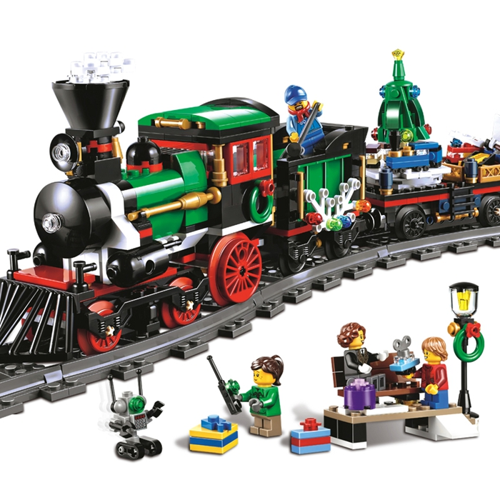 770pcs 36001 Model building kits compatible with lego city The Christmas Winter Holiday Train 3D font
