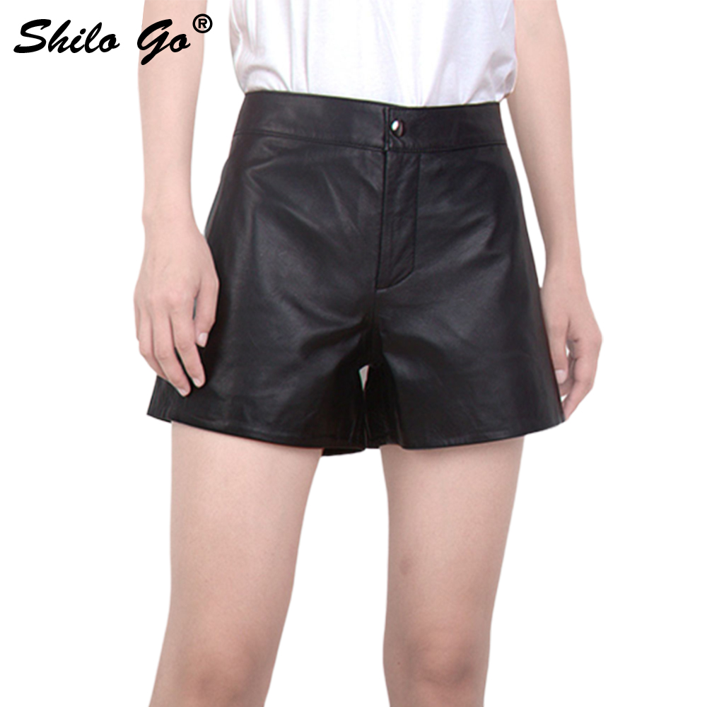 Leather Overalls Shorts Womens Autumn Fashion Sheepskin Genuine Leather Short Concise Loose Black Zipper Shorts