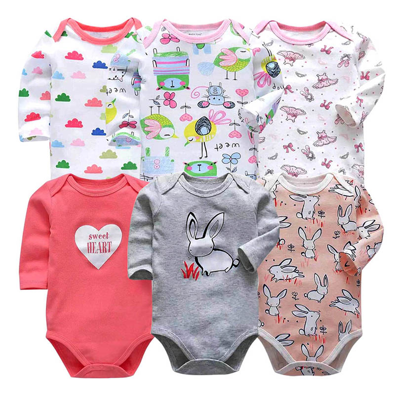 6 PCS lot newborn bodysuits long sleevele baby clothes O neck 0 12M baby Jumpsuit 100 Cotton baby clothing Infant baby sets in Bodysuits from Mother Kids