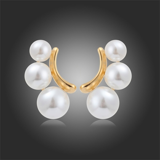 New Design Gold Plated Cute Ear Jackets Pearls Stud Earrings Fashion Wedding Party Jewelry For Women