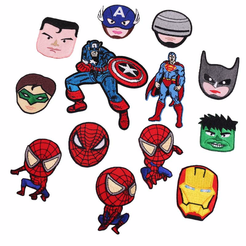 1pcs New Arrival Avengers Heros Batman Anime Patches Fabric Sticker Badge Embroidered Appliques DIY Movie Iron on Patches