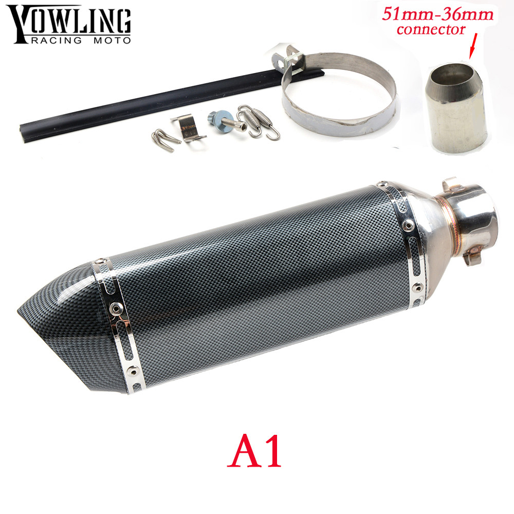 Motorcycle Inlet 51mm exhaust muffler pipe with db killer 36mm connector For Yamaha XV 950 R ABS/Racer YBR 125 tmax500 tmax530 motorcycle 51mm exhaust muffler pipe with db killer 36mm connector for honda 125 cbf cbr1100xx cbr300r cb300f fa cbr500r cb500fx
