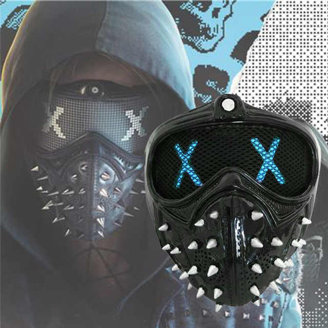 Permainan Watch Dogs 2 Masker Marcus LED Light Masker Emoji Berubah Holloway Wrench Cosplay Punk Gothic Keling Wajah Masker Halloween