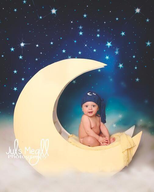 달 사진 배경 비닐 빈티지 사진 배경 아기 어린이 5x7ft 사용자 정의