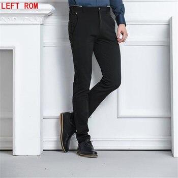 2017 Four Seasons Мода Город одноцветное Цвет мужчин Бизнес Повседневные длинные брюки корейский Slim Fit молодые микро-бомба Брюки