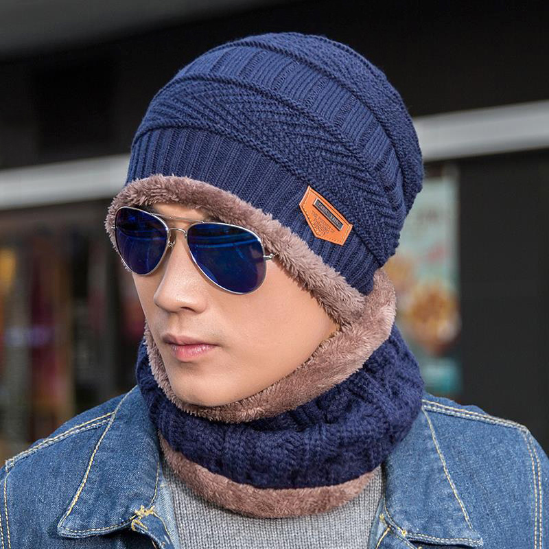 Winter Hats Beanies Knitted Wool Warm Black Fashion Men for Thick And Autumn