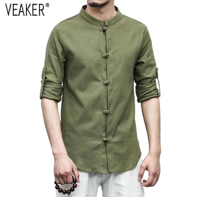 2018 ใหม่ผู้ชายผ้าลินินเสื้อยืดชายคอจีนผ้าลินินเสื้อยืดสีทึบฤดูร้อนฤดูใบไม้ร่วงครึ่งแขนเสื้อยืดเสื้อ m-5XL