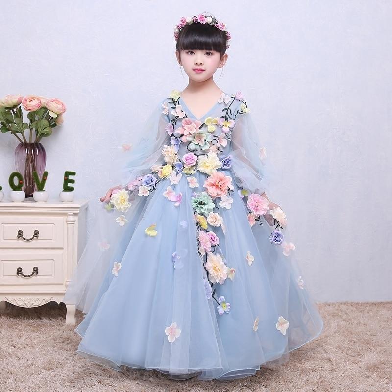 Flower Girls Dresses Long Children s Wedding Flower Fairy Dress Dancing Children Baby Anniversary Christening Dresses