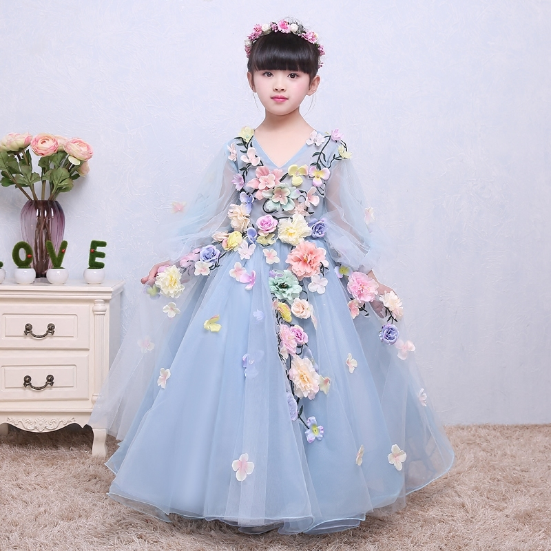 Flower Girls Dresses Long Children 's Wedding Flower Fairy Dress Dancing Children Baby Anniversary Christening Dresses for Girls 2018 children s catwalk tail dress large children s flower princess sequin embroidered children s dress