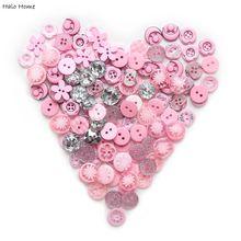 Богатые цвета, высокое качество, много стилей, 40 г, 2 отверстия, смешанные, рекламные пуговицы, дерево, смола, милая розовая серия, скрапбук, 9-15 мм