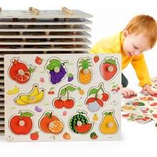 Rompecabezas de madera Montessori para bebé con dibujos animados, Tabla de madera con elementos de agarre manual, con dibujos de animales, vehículos, frutas, regalo para niño