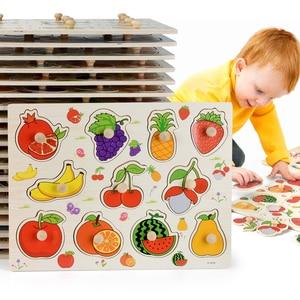 Image 1 - Rompecabezas de madera Montessori para bebé, tablas de agarre manual, Tangram de juguete, rompecabezas para bebé, juguetes educativos dibujo animado, vehículo, animales, frutas, 3D