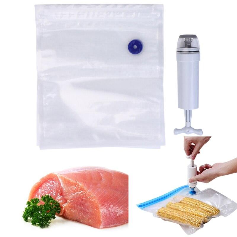 5Pcs Packaging Bag+Food Vacuum Sealer Storage Saver Hand Pump Kitchen Machine