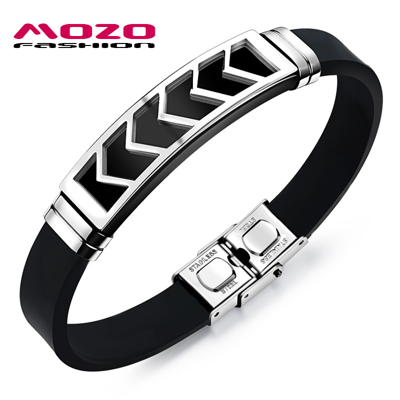 MOZO FASHION Men Bracelet Stainless Steel Silicone Rubber Wristband Bracelets Charm Hand Chain Male Jewelry Accessories MPH1092
