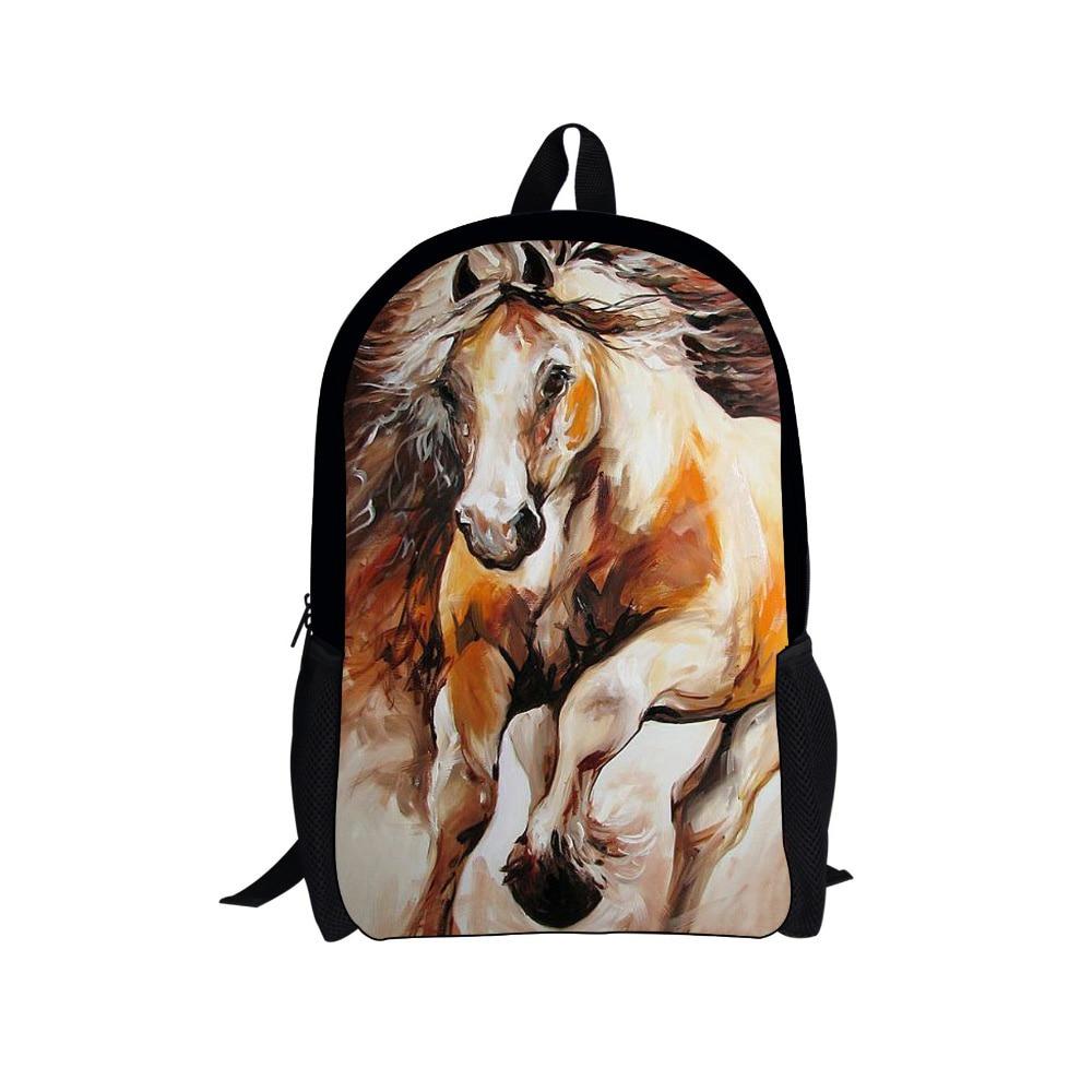 Noisydesigns school bag horse item with zipper for child design horse backpacks mini backpacks for girls back pack santa cruz