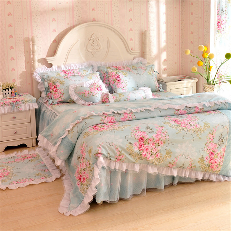 4pcs korean pastoral princess bedding set cotton lace for Beautiful bed decoration