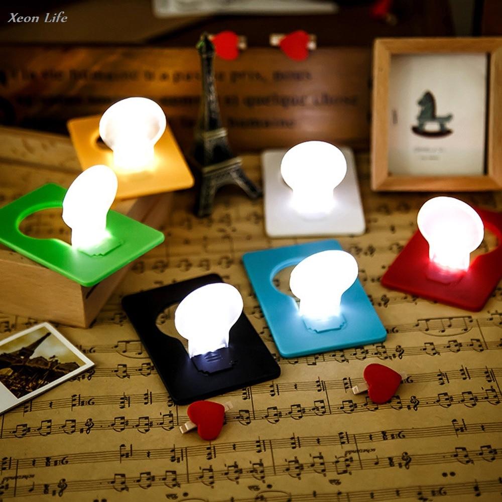 5PCS 12V Mini Wallet Pocket Credit Card Size Portable LED Night Light Lamp Bulbs Cute DIY Christmas Halloween Lighting Decor