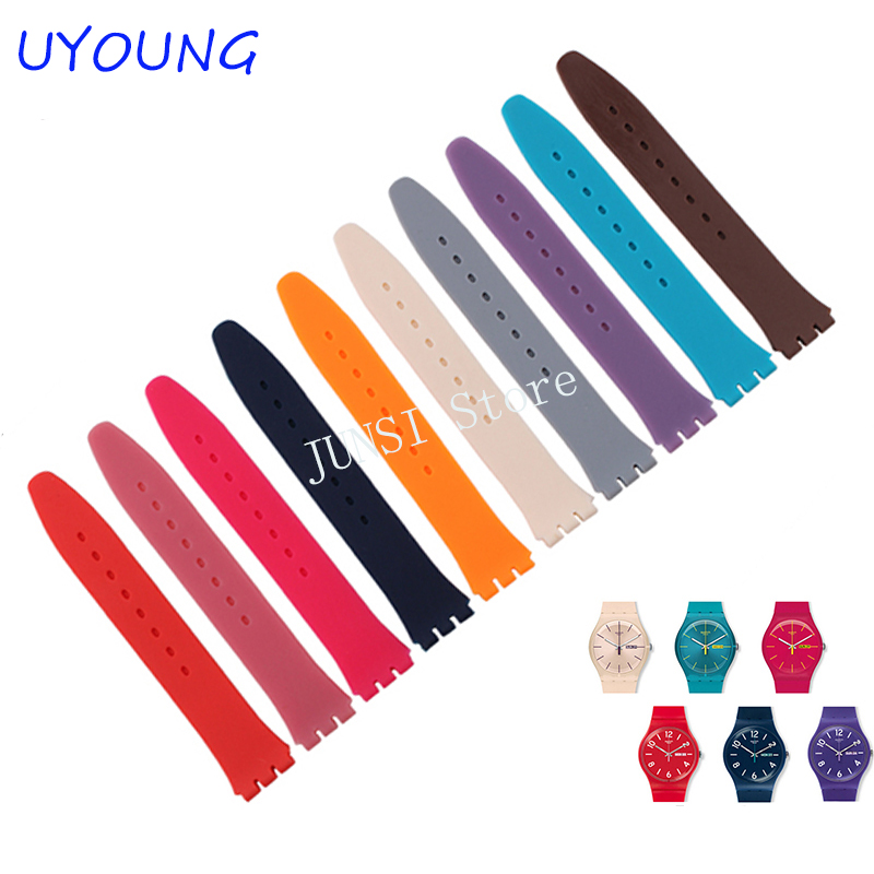 Replacement watchband watch band strap for Swatch strap 17mm and 19mm High quality - Please mark size and color eache silicone watch band strap replacement watch band can fit for swatch 17mm 19mm men women