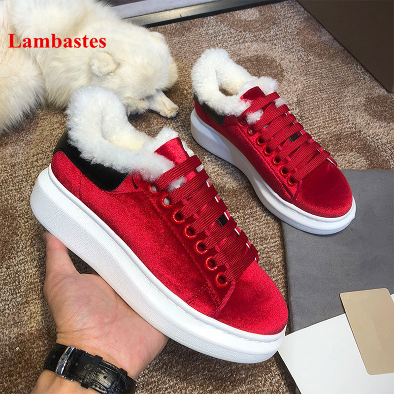 Winter Women Casual Shoes 2018 Hot Red Round Toe Lace Up Snake Pattern Fur Women Flats Velvet Platform Shoes Women Zapatos Mujer wieco art modern 100