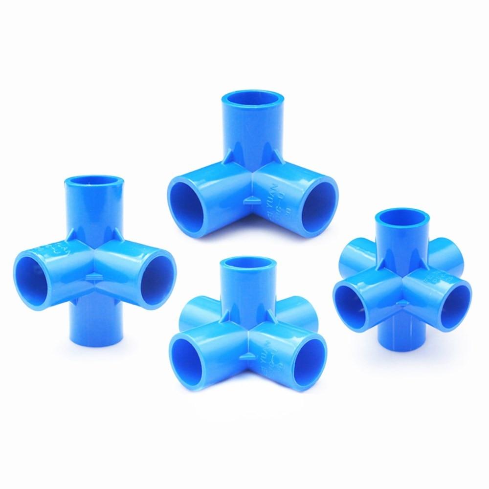 Blue PVC 3/4/5/6 Dimensional Internal Diameter 20mm,25mm,32mm PVC Pipe Fittings Home Garden Irrigation Water Connectors DIY Tool