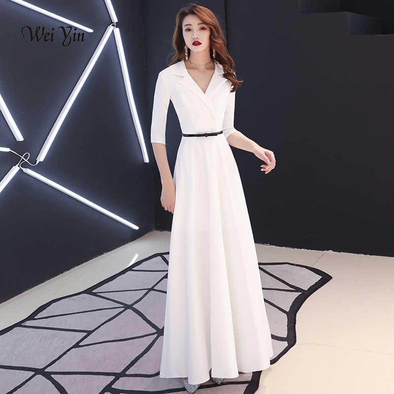 weiyin White Evening Dress Elegant for Women Long Sexy Half Sleeves V Neck Prom  Dresses 2019 ff43234cace2
