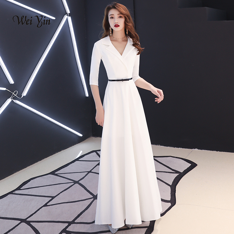 weiyin White   Evening     Dress   Elegant for Women Long Sexy Half Sleeves V Neck Prom   Dresses   2019 Party Gown WY1190