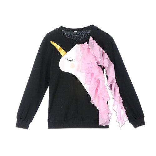 Family Matching Sweater Mum Daughter Women Kid Baby Girl Unicorn Cotton Long Sleeve Ruffle Tops Sweatshirt Blouse Baby Clothes