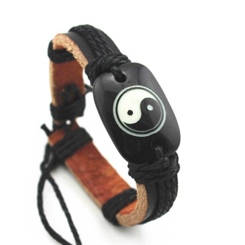 SPINNER Fashion Popular Leather Resin Bracelet Taiji Gossip Pattern Cowhide Adjustable Handmade Bracelet Jewelry Gift