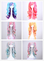 Girl Icecream Colorful Two Ponytails Wig Synthetic Wigs Lolita Ombre Cute Hair Buns Clip Hairpin Ponytail