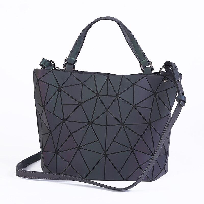 2018 bolsas mujeres luminoso sac cartera diamante Tote geometría acolchado hombro láser Plain plegable Bolsos bolso
