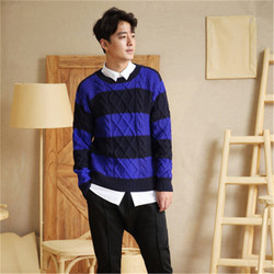 new fashion 100% hand made pure wool Oneck knit men contrast color striped H-straight pullover sweater one&over size