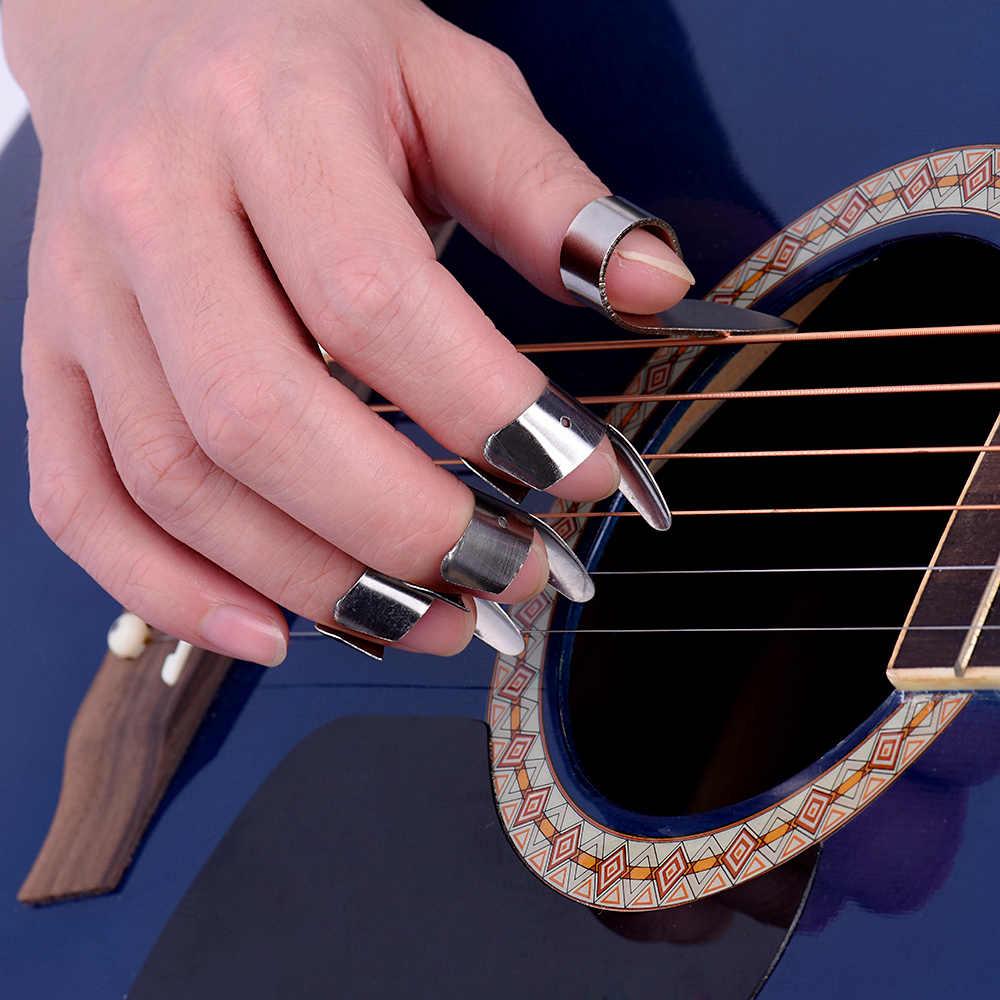 4 шт. нержавеющая сталь 1 большого пальца и 3 пальца ногтей Гитары Комплекты медиаторов Набор Металл акустическая бас-гитара аксессуары для гитары WYQ