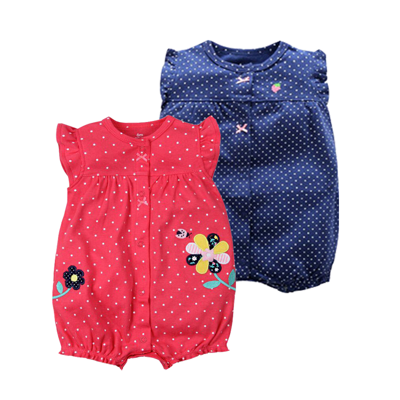 New Summer 2019 Baby Clothes Cotton   Rompers   Red Flower Newborn Cartoon Jumpsuit One Piece Clothing For Girls Summer Pajamas