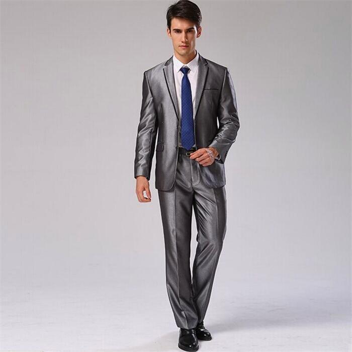 Пиджак+ брюки+ галстук+ платок) Мужской костюм Блейзер хлопковый брендовый Дизайнерский Костюм для работы, свадьбы строгие блейзеры CBJ-F1316 - Цвет: silver grey