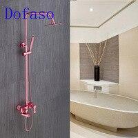 Dofaso antique shower 2018 luxury pink rose bath shower faucets great gift for new home decoration rain bath spout set