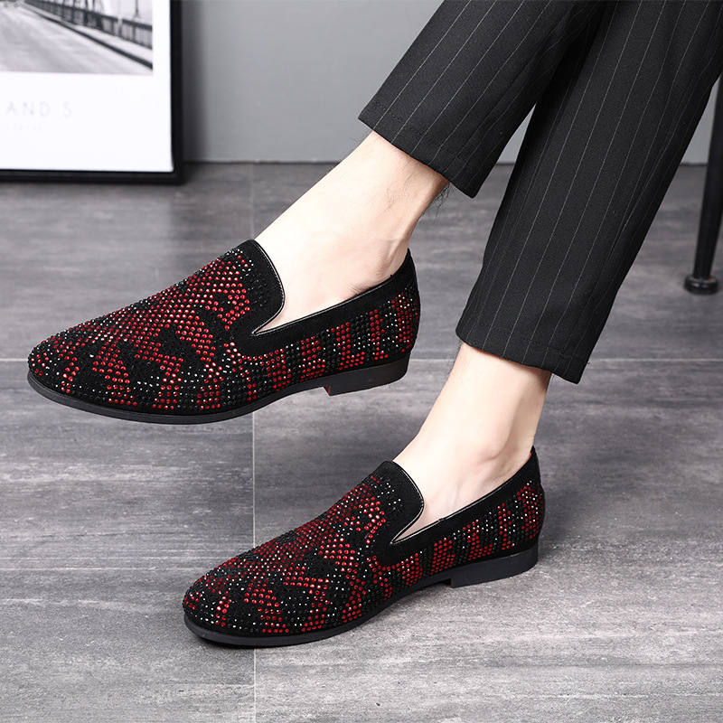 0a4a1c9c4291 2019 Мужская официальная Свадебная обувь для вечеринок роскошные мужские  лоферы с красной подошвой кожаные туфли с острым носком и стразами .