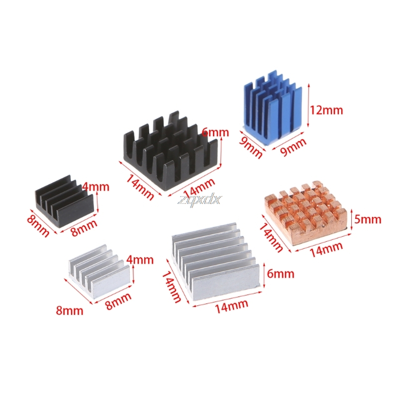 3 Set 12 X Heat Sink Aluminum Copper Radiator Cooler Kit For Raspberry Pi 2