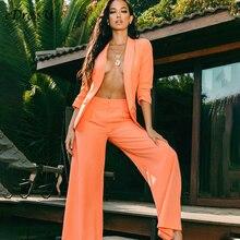 Women Suit Sets Business Suits Orange Wo