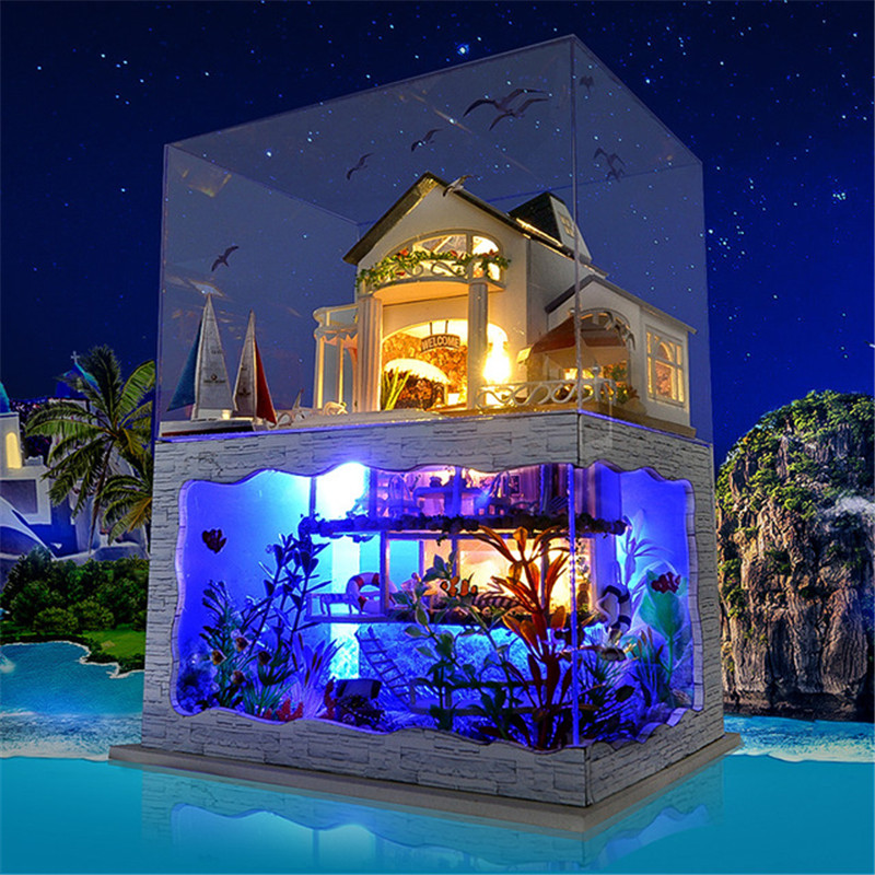 DIY Dollhouse Miniature Model Hawaii Villa House With Light Cover Gift Decoration Collection Toy Gift For Friend Children
