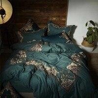 Модные Роскошные зеленые 100 S из египетского хлопка золотой леопард печати вышивка Постельное белье пододеяльник простыня/льняные наволочк