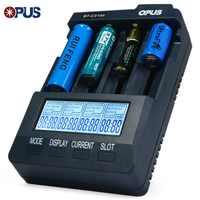Original Opus BT-C3100 V2.2 inteligente Digital inteligente 4 ranuras LCD cargador de batería Universal para batería recargable enchufe UE/EE. UU.