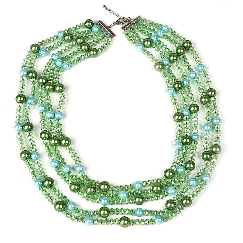 Trois rangées vert 5.9-10mm perles verre cristal et Imitation perles collier 18-23 pouces adapté pour les dames nobles en gros H143