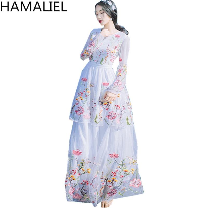 9251b74a75b6 HAMALIEL Boho Stil Sommer Lange Kleid 2018 Luxus Embroidey Floral ...