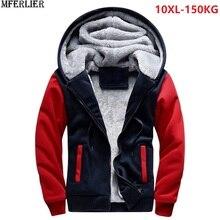 PLUS ขนาดใหญ่บิ๊กเสื้อผู้ชาย 8XL WARM ขนแกะหนา hoodies ฤดูหนาว hipster SportWear Patchwork 9XL 10XL Zipper Coat