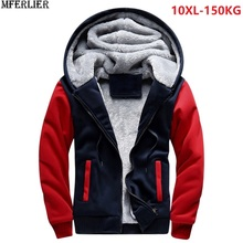 Plus Grote Maat Grote Mannen Sweatshirts 8XL Warme Fleece Dikke Hooded Hoodies Winter Hipster Sportwear Patchwork 9XL 10XL Rits Jas