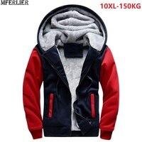 plus large size big men Sweatshirts 8XL warm fleece thick hooded hoodies winter hipster SportWear patchwork 9XL 10XL zipper coat
